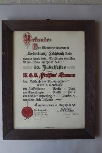 Urkunde Liederkranz August 1929
